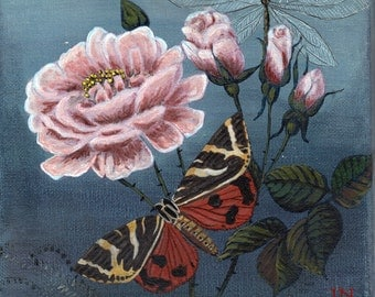 botany painting - flower and butterfly - fine work of art - great gift idea
