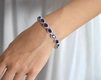 Blue Bridal bracelet, Crystal Wedding Bracelet, Cubic Zirconia Blue Bracelet, Wedding Saphire Blue Bracelet, Ref JASMINE