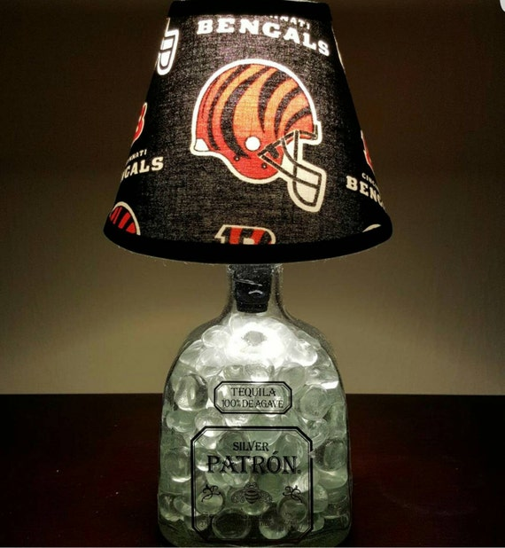 Handmade LED Cincinnati Bengals vs. Patron Tequila Liquor Bottle Lamp