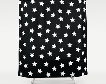 Kids Shower Curtain, Kids Bathroom Decor, Black and White Shower Curtain, Fabric Shower Curtain, Standard or Extra Long Shower Curtain