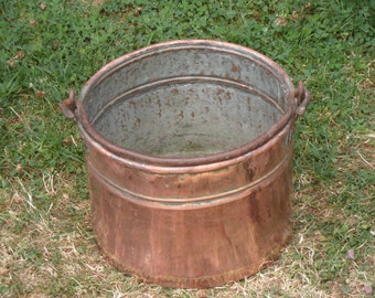 Large copper cook pot crock garden planter french country decor cottage garden Napoleon 3 farmhouse decor antique copper ccokware jardiniere