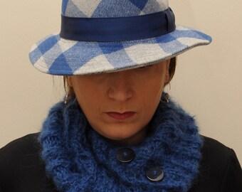 SALE- 30%OFF-Blue mohair chunky button-up neckwarmer, winter,warm