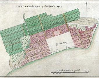 1767 Map of Pensacola Escambia County Florida