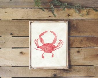 Crab Wall Print, Nautical Print, Coastal Wall Decor, Crab Art, Digital Download 8x10