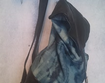 Ladies Hand Made Black Leather Backpack with Bleach Dyed Denim