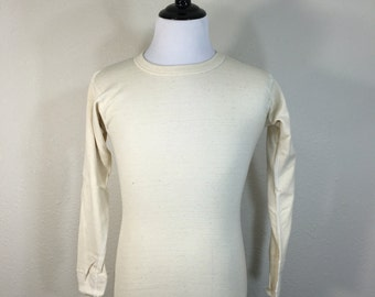 70's long sleeve t-shirt underware 50/50 cotton wool blend size medium