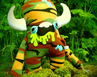 Plush monster kawaii soft toy 'Man Made Monster Co' Eugene in Camouflage