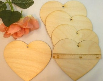 Wooden heart with heart hole heart 5 piece EHL different size 6 cm, 8 cm or 11 cm free selectable blank heart natural wood wooden wedding