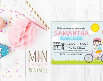 Bike Party Girl Invitation, Bike Birthday Invitation ,Tricycle Birthday,Bike Invitation, Girl Bike Party Birthday Party Invitations