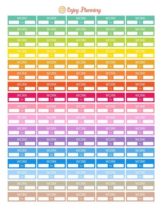 Work Stickers Printable Work Planner StickersWork by ...
