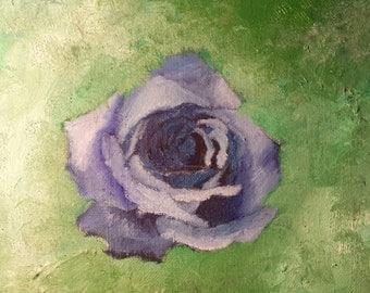 Original Oil Painting : Messy Blue Rose.