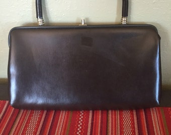 Black leather vintage top handle purse