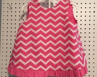 Toddler girls pink chevron sun dress with bloomers - size 18-24 months