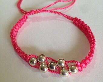 Pink or black macrame bracelets