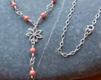 Sterling Silver and Coral Swarovski Pearl Flower Necklace, Pink Coral Necklace, Orange Coral Necklace, Delicate Necklace