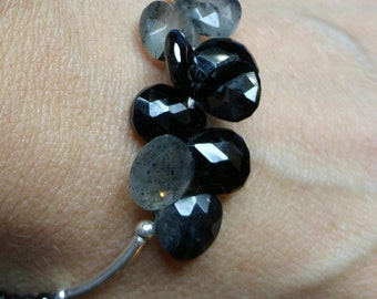 black rutile  spinel gemstones beaded sterling silver bracelet