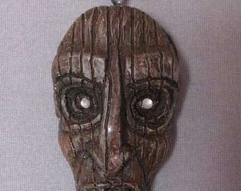brown Tiki Nosferatu vampire necklace monster OOAK one of a kind