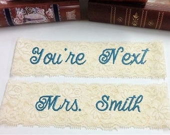 Bride's Garter, Personalized, Custom, Embroidered Monogram Lace Garter Wedding garter