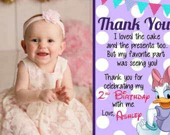 Daisy Duck Inspired Birthday Thank You Card