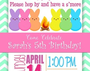 Peep S'more Themed Birthday Invitation