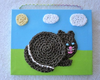 Crochet Brown Cat Picture, Children's Picture,  Fiber Art,  Crochet Wall Hanging, Nursery Picture,  Playroom Picture, Child's Gift