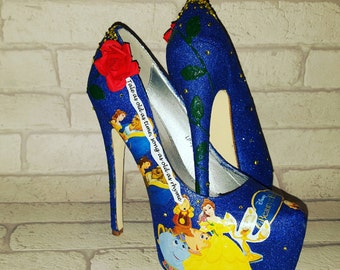Beauty and the beast heeled shoes