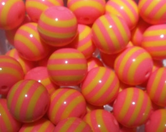 Set of 10 - 20mm Pink and Yellow Stripe Bubblegum Bead, Gumball Bead,Chunky Resin Bead, 20mm Stripe Beads, 20mm Chunky Bead, Chunky Necklace