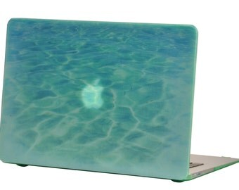 Macbook Air 13 inches Rubberized Hard Case for model A1369 & A1466, Sea World Design with Green Bottom Case, Come with Keyboard Cover