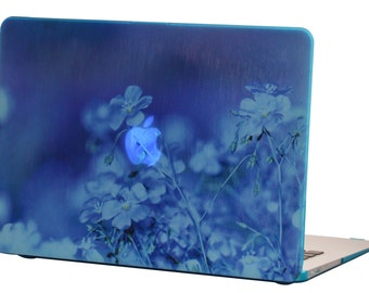 Macbook Air 13 inches Rubberized Hard Case for model A1369 & A1466, Blue Flower Design with Blue Bottom Case, Come with Keyboard Cover