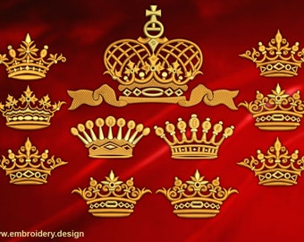 Crowns embroidery designs pack #1 (collection of 11)