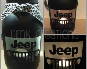 Jeep Grill, Painted Mason Jar, Tea Light Candle Holder, Jeep