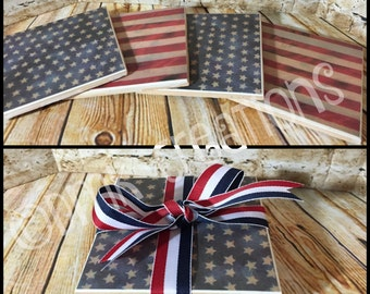Patriotic Coaster Set,drink coasters, tile coasters, coasters,July 4th, 4th of July, Patriotic