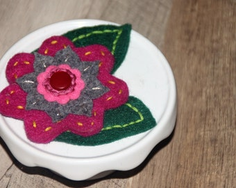 Felt Brooch Embroidered.  Bridesmaid gift.