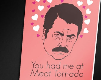 Elegant Ron Swanson Valentine Card   PRINTABLE CARD