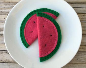 felt watermelon, felt fruit, play kitchen food watermelon, felt play food fruit