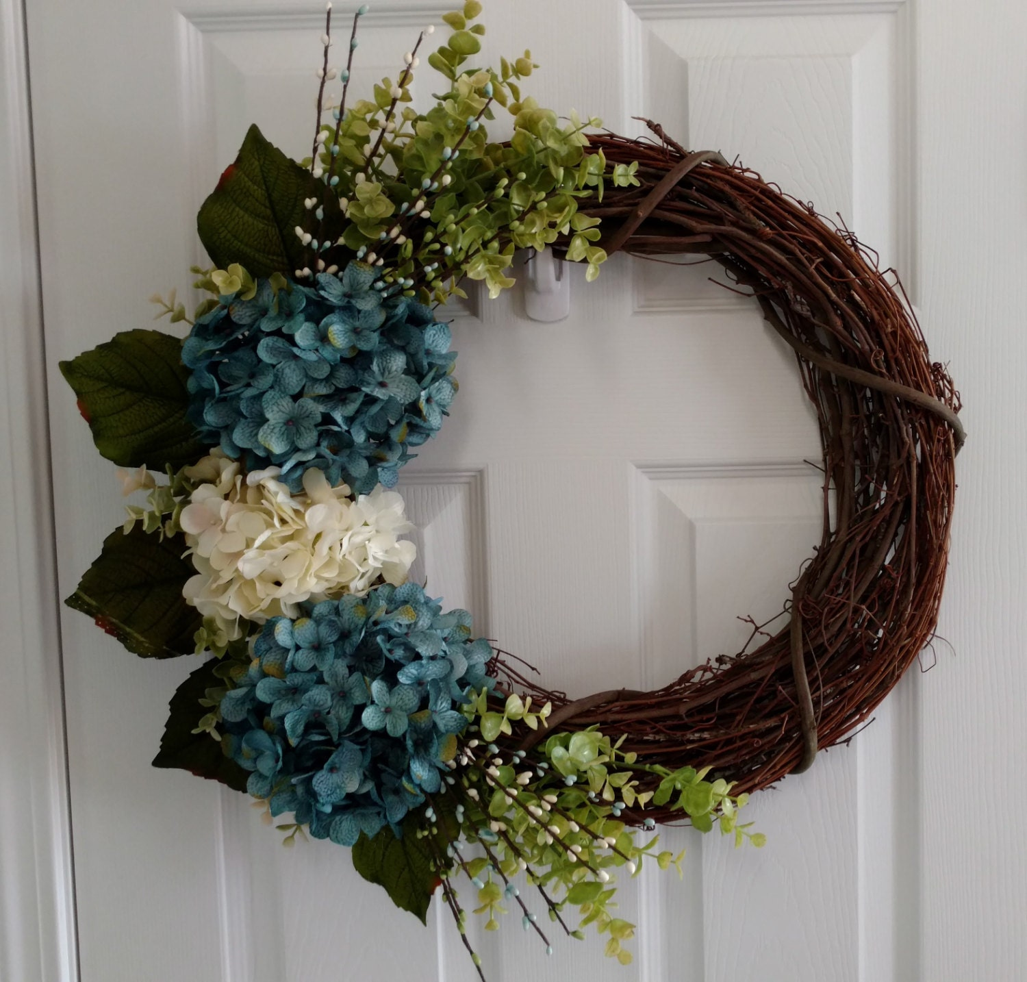 Spring Hydrangea Wreath Teal Cream Wreath Teal Hydrangea