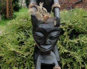 Antique african statue, antique wood statue,home decorating,african souvenir, black figurine