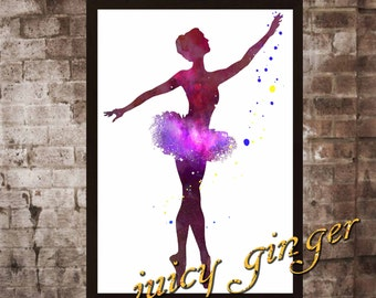 Ballerina art print , ballet dancer watercolor poster, Art Print, instant download, Watercolor Print, poster, Home Decor