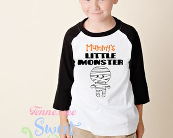 Mummy's Little Monster, Halloween Raglan, Toddler Halloween Shirt, Kid's Graphic Halloween Tee, Fall Clothing, Unisex Halloween T-shirt