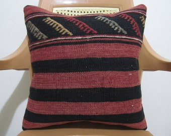 Vintage Turkish Pillow 16 x 16  Anatolian Tribal Vintage Flat Hand woven Kilim Cushion Home Decor Bohemian Pillow Accent Pillow case
