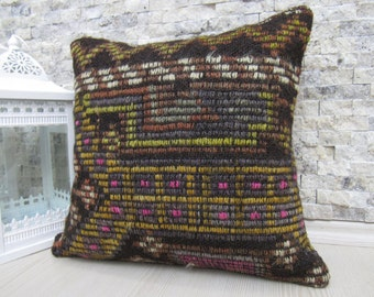 16 x 16 Very old  Turkish Tribal kilim pillow Anatolian Traditional kilim pillow cover Decorative Home pillow