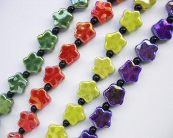 Large Purple Puffed Porcelain Star Beads, 5 Stars ceramic beads,  Star beads, Glazed Ceramic beads,