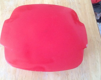 Pyrex Made in Canada bright Primary-Color Red square casserole hostess dish with lid, oven to table presentation, lovely Canada Day color