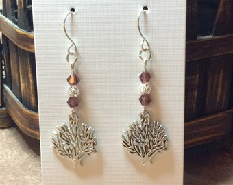 Silver Tree of Life dangle handmade earrings Purple Crystals