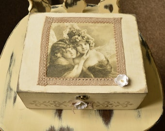 Wooden decoupage box, Vintage style box, Decorative storage