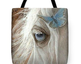 Horse Tote Bag, Butterfly Tote Bag, Canvas Tote Bag, Small Tote Bag