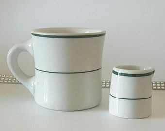 Vintage Shenango China Green and white Restaurant Ware Mug & Matching Creamer Great Gift