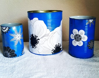Tin Cans. Upcycled Cans. Painted Cans . Tin. Cans. Upcycled. Home Decor. Brushes.  Pens. Pencils.  Makeup.  Storage. Office decor.