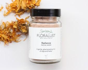 Radiance Clay Mask // Pink French Clay, Kaolin Clay, Calendula, Marshmallow Root, Pawpaw, Turmeric. Organic & Natural, Vegan, Skincare.