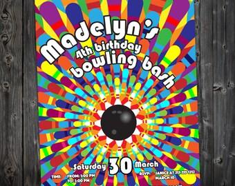 Printable, DIY Bowling Birthday Party Invitation (BB002)